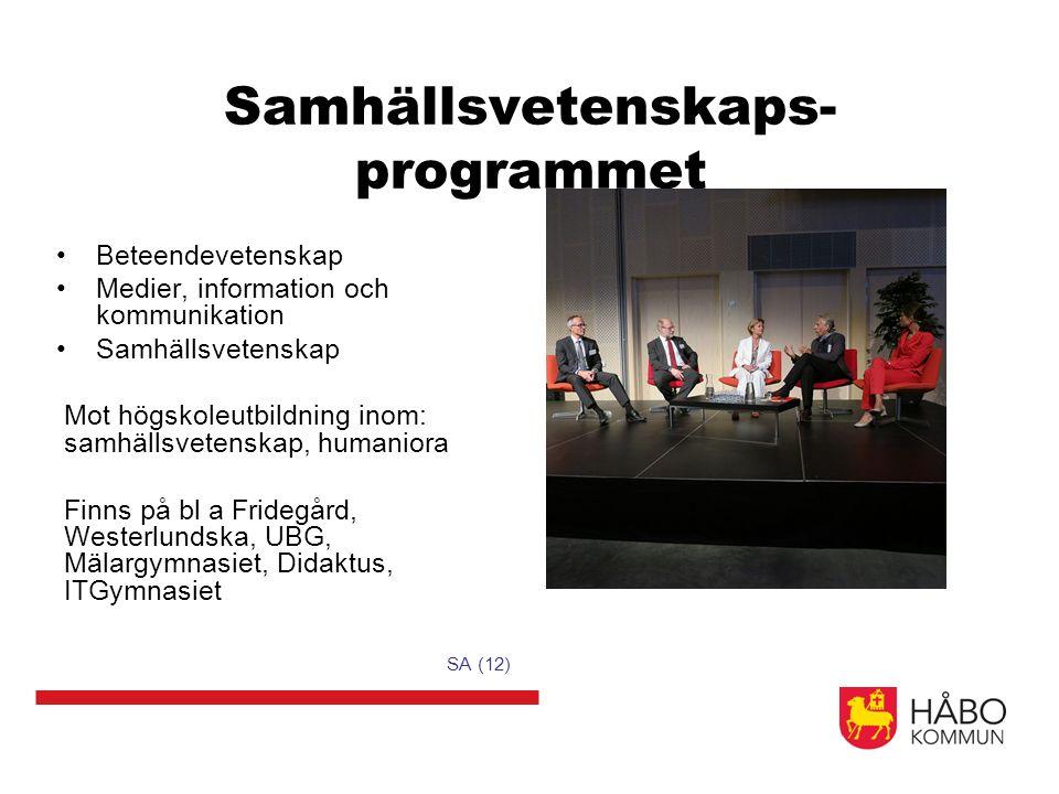 Samhällsvetenskaps- programmet Beteendevetenskap Medier, information och kommunikation Samhällsvetenskap Mot högskoleutbildning inom: samhällsvetenska