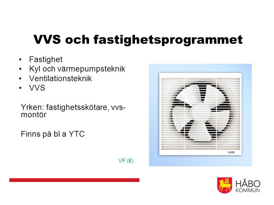 VVS och fastighetsprogrammet Fastighet Kyl och värmepumpsteknik Ventilationsteknik VVS Yrken: fastighetsskötare, vvs- montör Finns på bl a YTC VF (8)