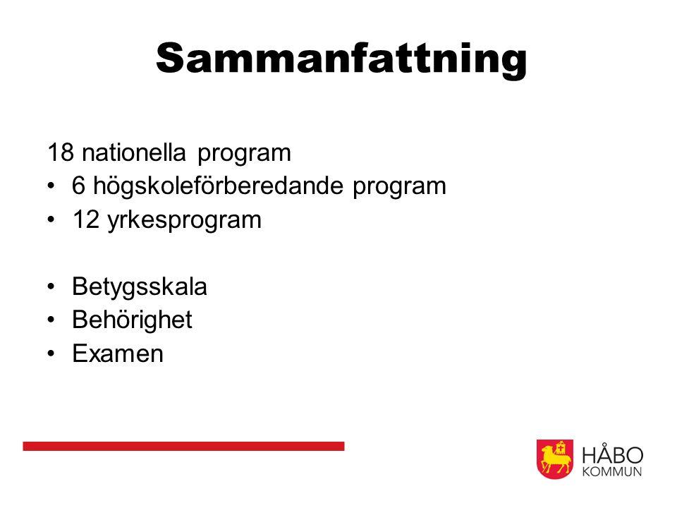 Sammanfattning 18 nationella program 6 högskoleförberedande program 12 yrkesprogram Betygsskala Behörighet Examen