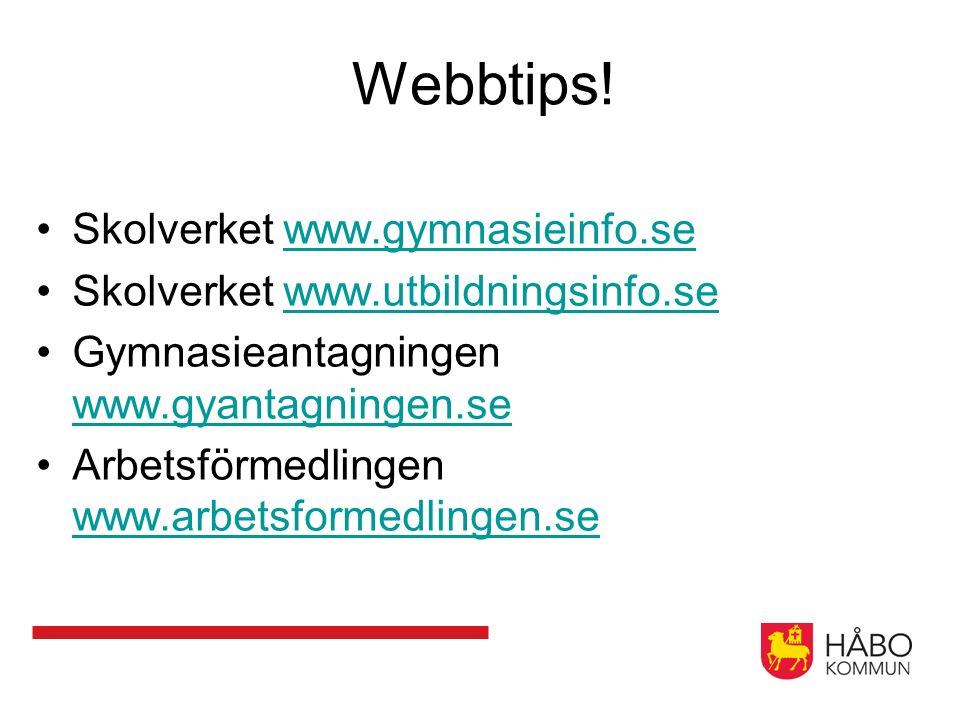 Webbtips! Skolverket www.gymnasieinfo.sewww.gymnasieinfo.se Skolverket www.utbildningsinfo.sewww.utbildningsinfo.se Gymnasieantagningen www.gyantagnin