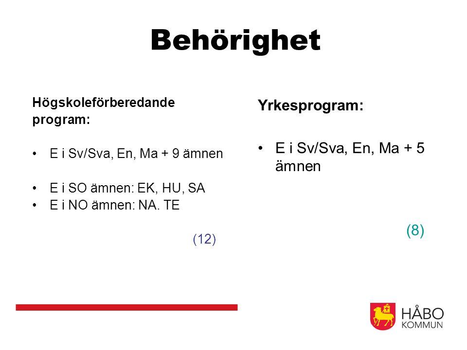 Behörighet Högskoleförberedande program: E i Sv/Sva, En, Ma + 9 ämnen E i SO ämnen: EK, HU, SA E i NO ämnen: NA. TE (12) Yrkesprogram: E i Sv/Sva, En,