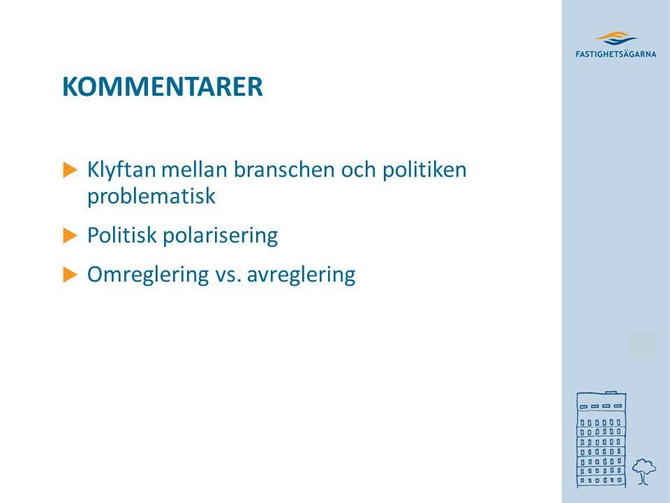 KOMMENTARER  Klyftan mellan branschen och politiken problematisk  Politisk polarisering  Omreglering vs.