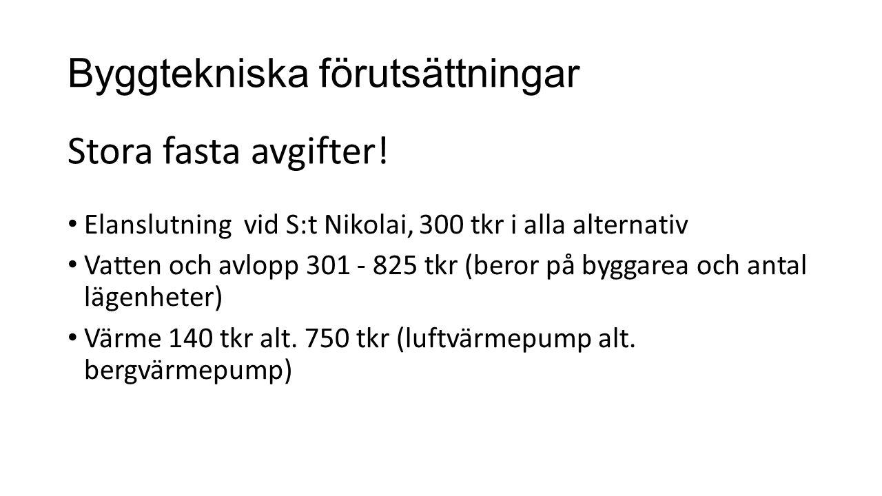 Byggtekniska förutsättningar Elanslutning vid S:t Nikolai, 300 tkr i alla alternativ Vatten och avlopp 301 - 825 tkr (beror på byggarea och antal lägenheter) Värme 140 tkr alt.