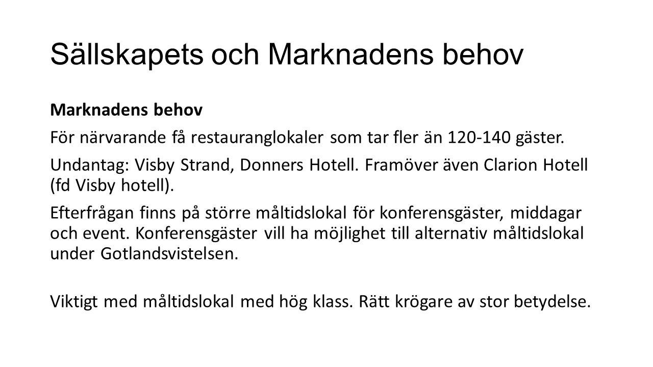 Sällskapets och Marknadens behov Marknadens behov För närvarande få restauranglokaler som tar fler än 120-140 gäster.