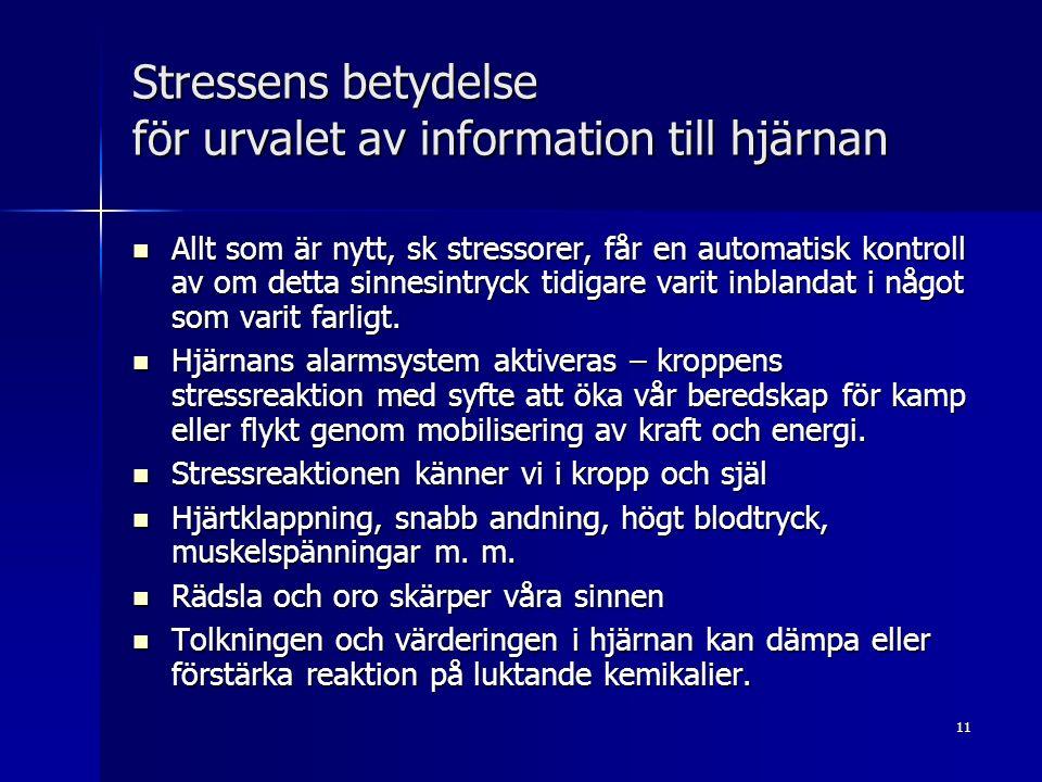 11 Stressens betydelse för urvalet av information till hjärnan Allt som är nytt, sk stressorer, får en automatisk kontroll av om detta sinnesintryck tidigare varit inblandat i något som varit farligt.