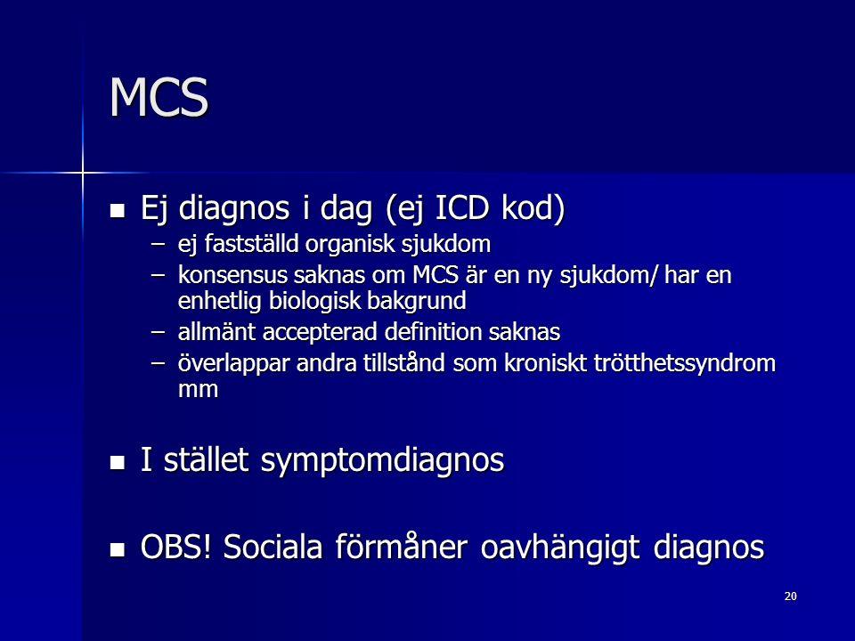 20 MCS Ej diagnos i dag (ej ICD kod) Ej diagnos i dag (ej ICD kod) –ej fastställd organisk sjukdom –konsensus saknas om MCS är en ny sjukdom/ har en enhetlig biologisk bakgrund –allmänt accepterad definition saknas –överlappar andra tillstånd som kroniskt trötthetssyndrom mm I stället symptomdiagnos I stället symptomdiagnos OBS.