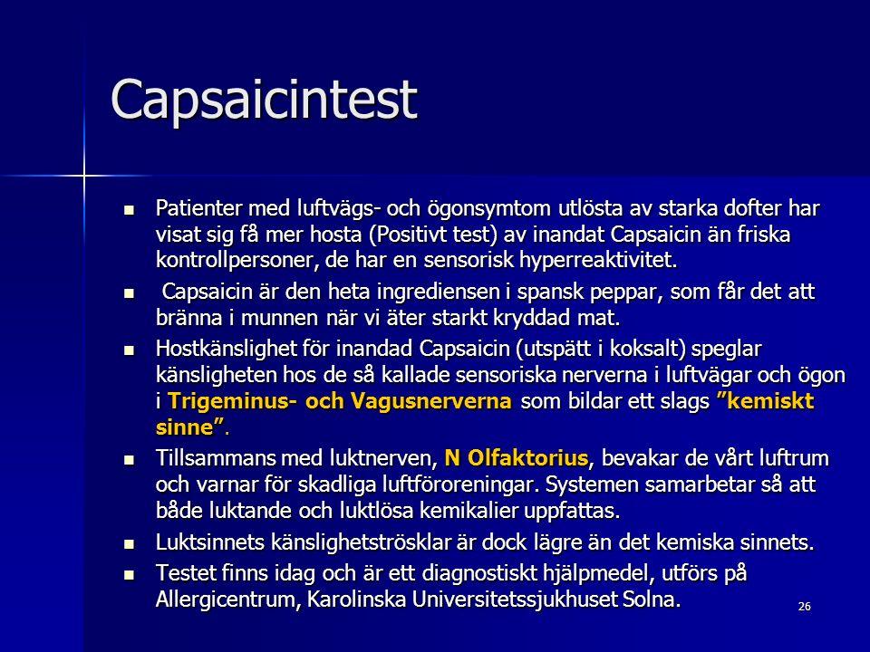 26 Capsaicintest Patienter med luftvägs- och ögonsymtom utlösta av starka dofter har visat sig få mer hosta (Positivt test) av inandat Capsaicin än friska kontrollpersoner, de har en sensorisk hyperreaktivitet.