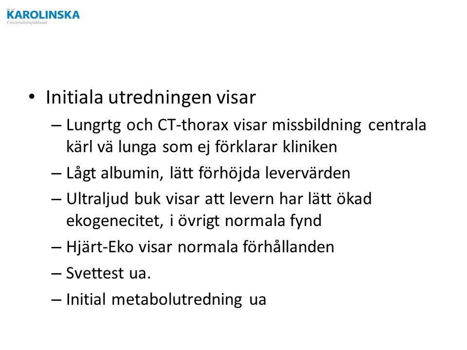 Initiala utredningen visar – Lungrtg och CT-thorax visar missbildning centrala kärl vä lunga som ej förklarar kliniken – Lågt albumin, lätt förhöjda levervärden – Ultraljud buk visar att levern har lätt ökad ekogenecitet, i övrigt normala fynd – Hjärt-Eko visar normala förhållanden – Svettest ua.