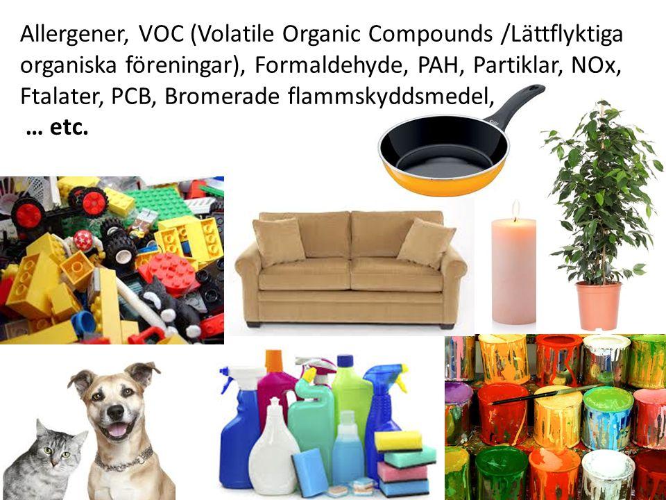 Allergener, VOC (Volatile Organic Compounds /Lättflyktiga organiska föreningar), Formaldehyde, PAH, Partiklar, NOx, Ftalater, PCB, Bromerade flammskyddsmedel, … etc.