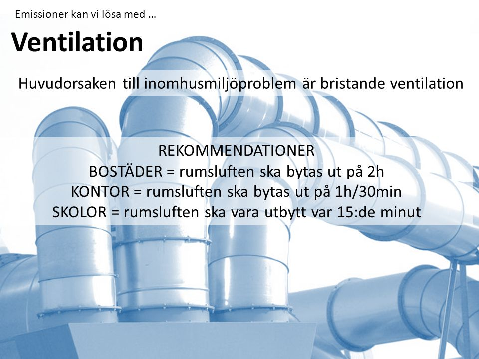 Ventilation Huvudorsaken till inomhusmiljöproblem är bristande ventilation REKOMMENDATIONER BOSTÄDER = rumsluften ska bytas ut på 2h KONTOR = rumsluften ska bytas ut på 1h/30min SKOLOR = rumsluften ska vara utbytt var 15:de minut Emissioner kan vi lösa med …