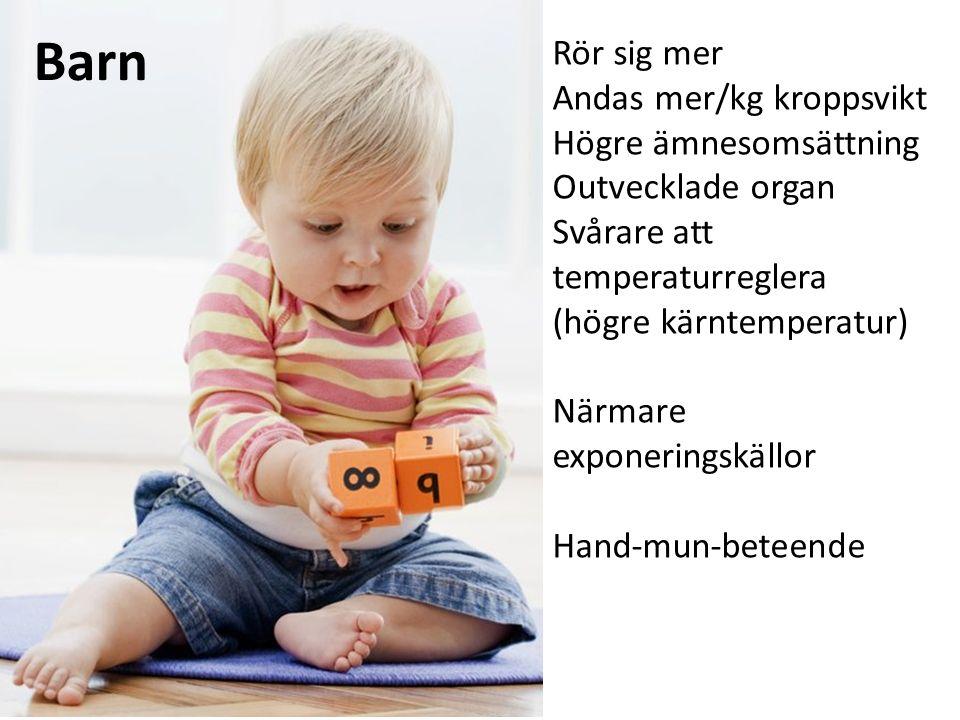 Barn Rör sig mer Andas mer/kg kroppsvikt Högre ämnesomsättning Outvecklade organ Svårare att temperaturreglera (högre kärntemperatur) Närmare exponeringskällor Hand-mun-beteende
