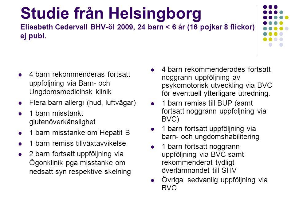 Studie från Helsingborg Elisabeth Cedervall BHV-öl 2009, 24 barn < 6 år (16 pojkar 8 flickor) ej publ.