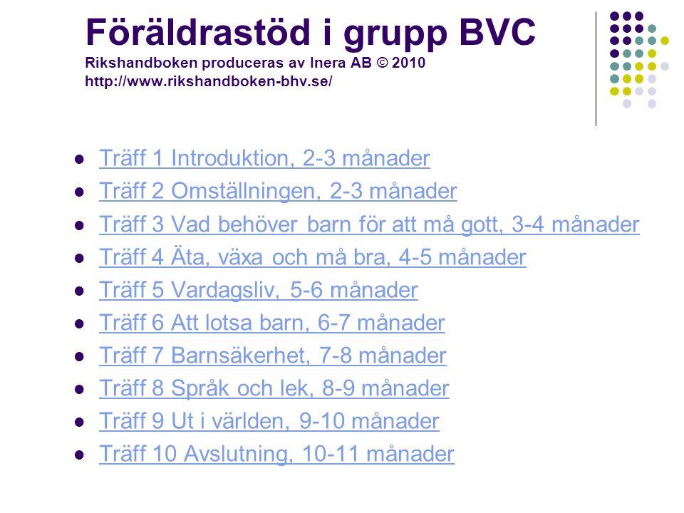 Föräldrastöd i grupp BVC Rikshandboken produceras av Inera AB © 2010 http://www.rikshandboken-bhv.se/ Träff 1 Introduktion, 2-3 månader Träff 2 Omställningen, 2-3 månader Träff 3 Vad behöver barn för att må gott, 3-4 månader Träff 4 Äta, växa och må bra, 4-5 månader Träff 5 Vardagsliv, 5-6 månader Träff 6 Att lotsa barn, 6-7 månader Träff 7 Barnsäkerhet, 7-8 månader Träff 8 Språk och lek, 8-9 månader Träff 9 Ut i världen, 9-10 månader Träff 10 Avslutning, 10-11 månader
