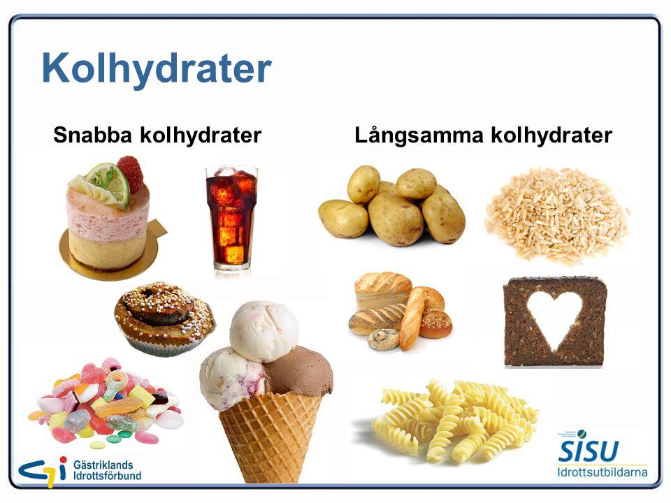Kolhydrater Snabba kolhydrater Långsamma kolhydrater