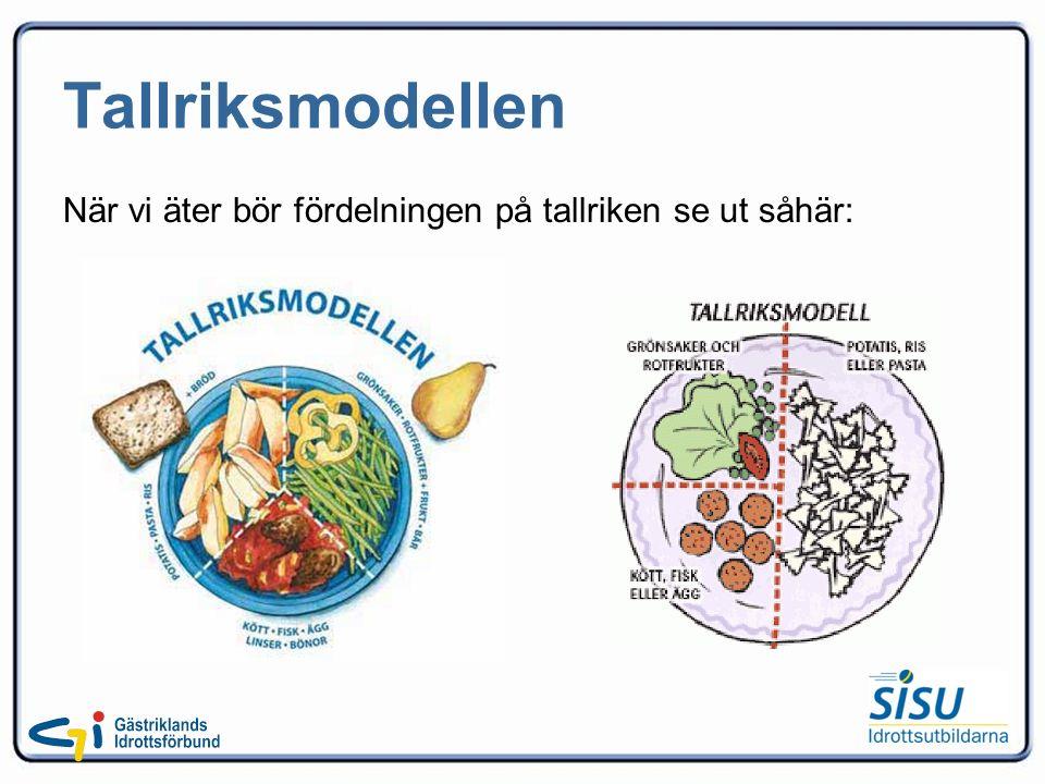 Tallriksmodellen När vi äter bör fördelningen på tallriken se ut såhär:
