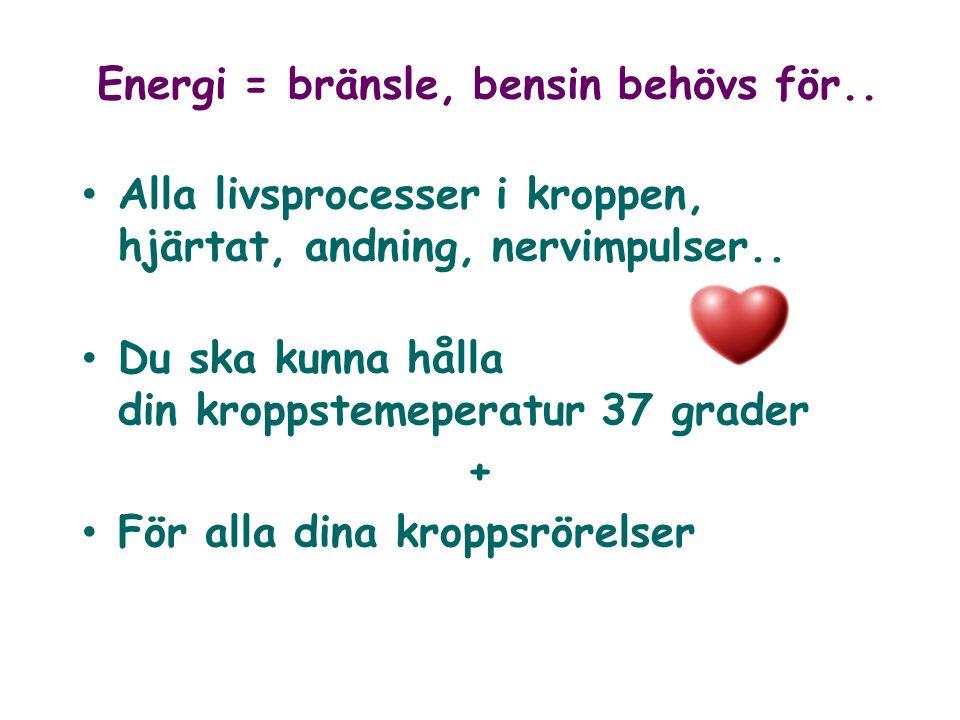 Energi = bränsle, bensin behövs för.. Alla livsprocesser i kroppen, hjärtat, andning, nervimpulser.. Du ska kunna hålla din kroppstemeperatur 37 grade
