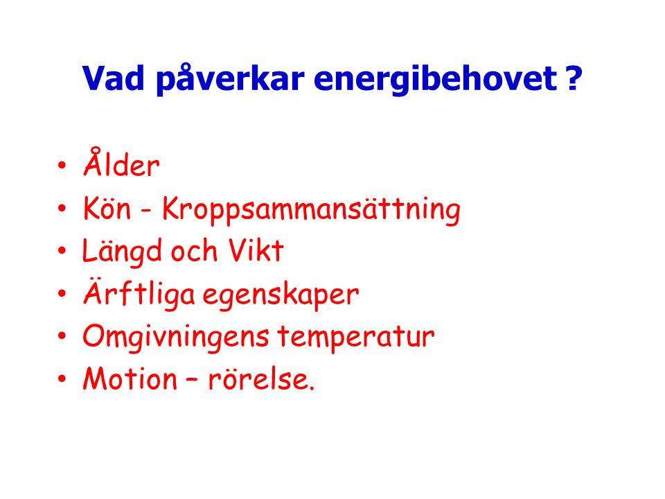 Vad påverkar energibehovet ? Ålder Kön - Kroppsammansättning Längd och Vikt Ärftliga egenskaper Omgivningens temperatur Motion – rörelse.