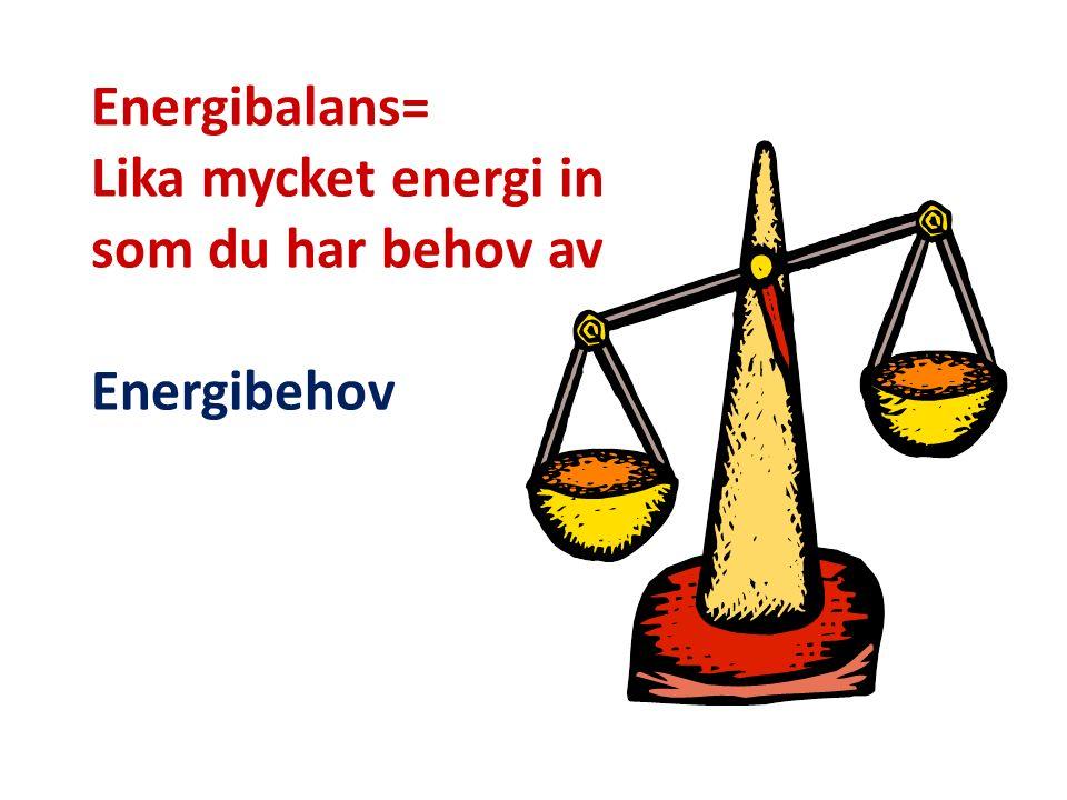 Energibalans= Lika mycket energi in som du har behov av Energibehov