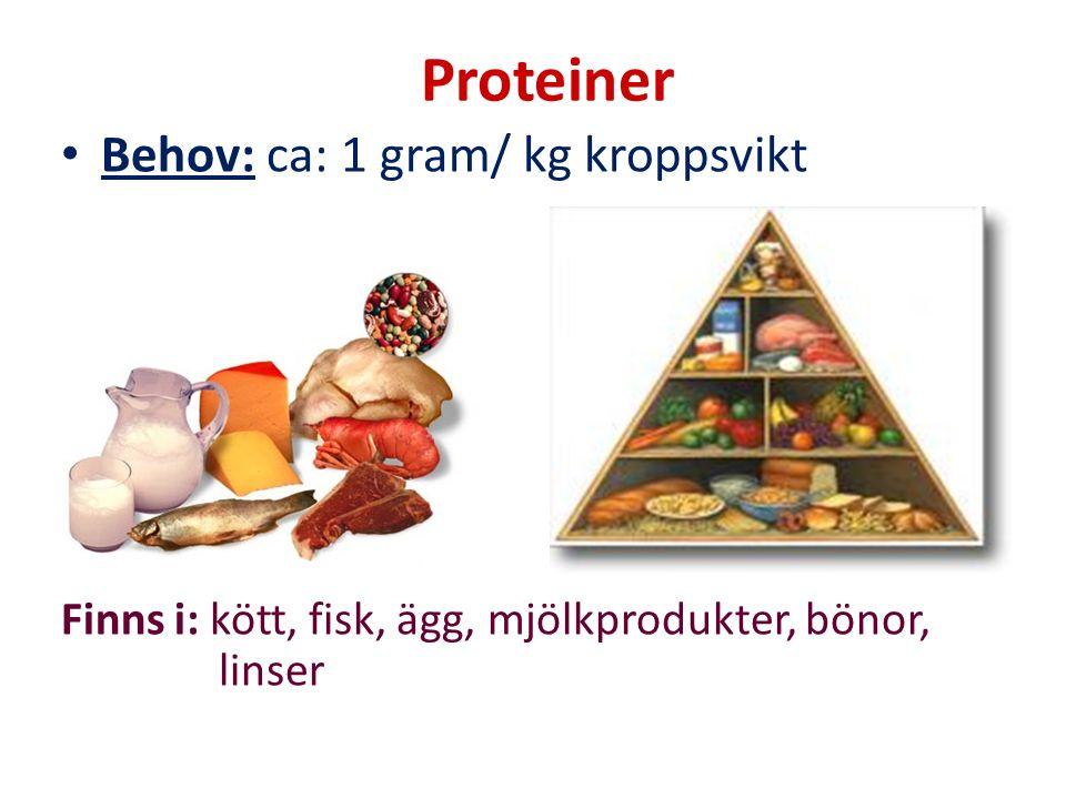 Proteiner Behov: ca: 1 gram/ kg kroppsvikt Finns i: kött, fisk, ägg, mjölkprodukter, bönor, linser