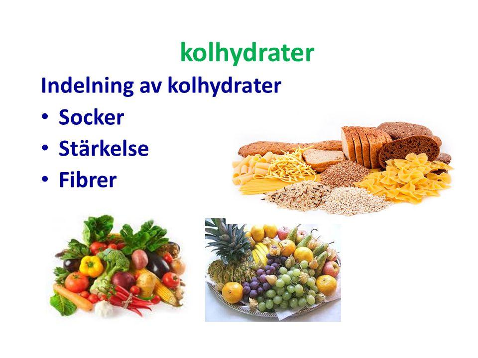 kolhydrater Indelning av kolhydrater Socker Stärkelse Fibrer