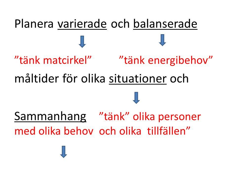 Tallriksmodell för normal mellan energibehov Tallriksmodell för högt energibehov.