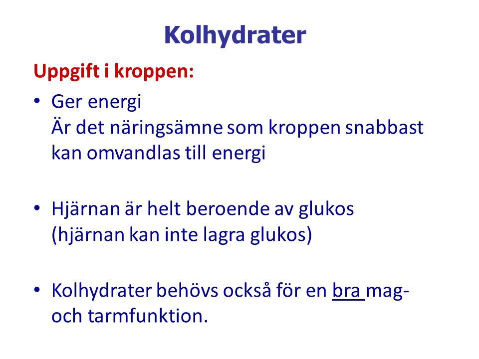 Kolhydrater Uppgift i kroppen: Ger energi Är det näringsämne som kroppen snabbast kan omvandlas till energi Hjärnan är helt beroende av glukos (hjärna