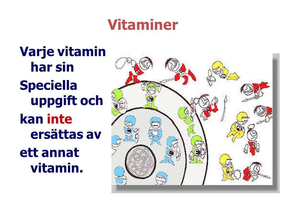 Vitaminer Varje vitamin har sin Speciella uppgift och kan inte ersättas av ett annat vitamin.