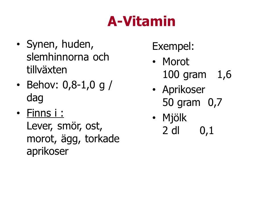 A-Vitamin Synen, huden, slemhinnorna och tillväxten Behov: 0,8-1,0 g / dag Finns i : Lever, smör, ost, morot, ägg, torkade aprikoser Exempel: Morot 10
