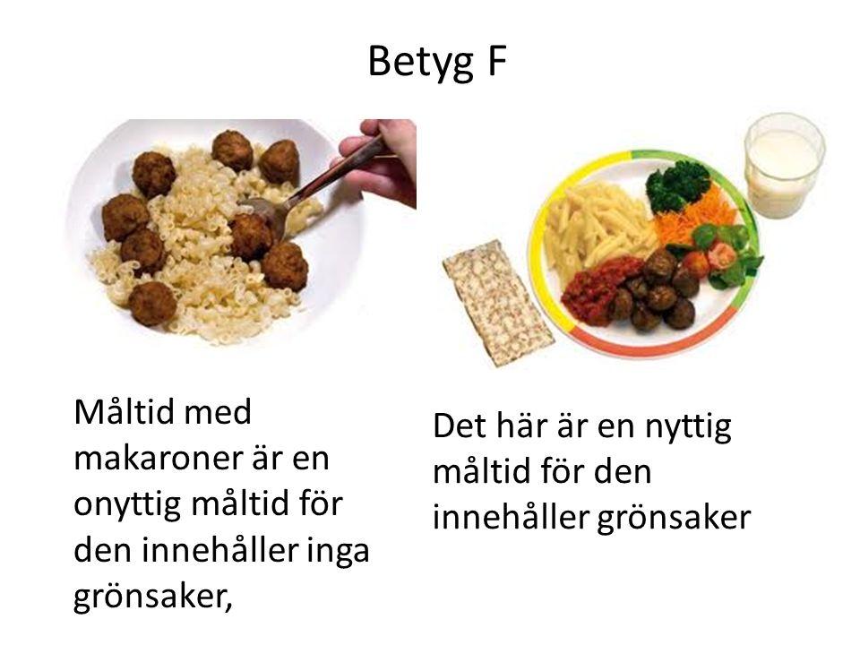 Betyg F Måltid med makaroner är en onyttig måltid för den innehåller inga grönsaker, Det här är en nyttig måltid för den innehåller grönsaker