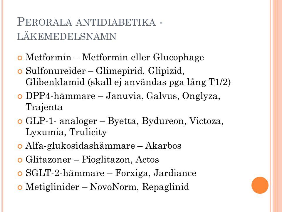 P ERORALA ANTIDIABETIKA - LÄKEMEDELSNAMN Metformin – Metformin eller Glucophage Sulfonureider – Glimepirid, Glipizid, Glibenklamid (skall ej användas