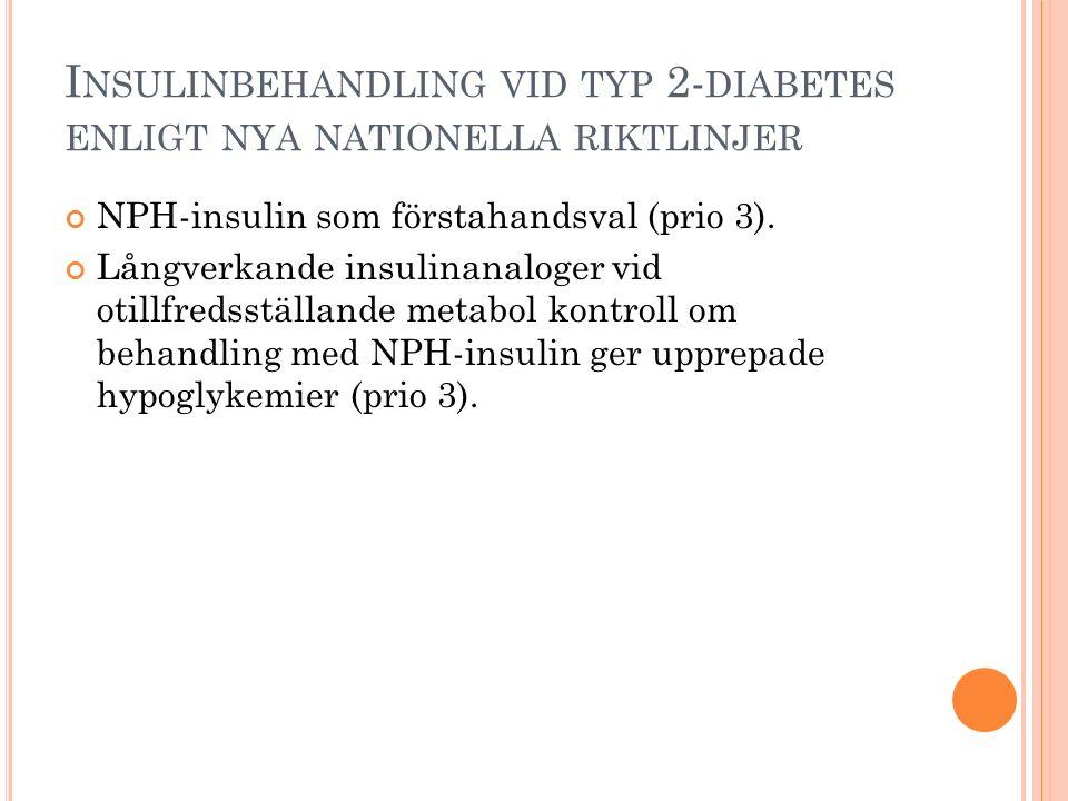 I NSULINBEHANDLING VID TYP 2- DIABETES ENLIGT NYA NATIONELLA RIKTLINJER NPH-insulin som förstahandsval (prio 3). Långverkande insulinanaloger vid otil