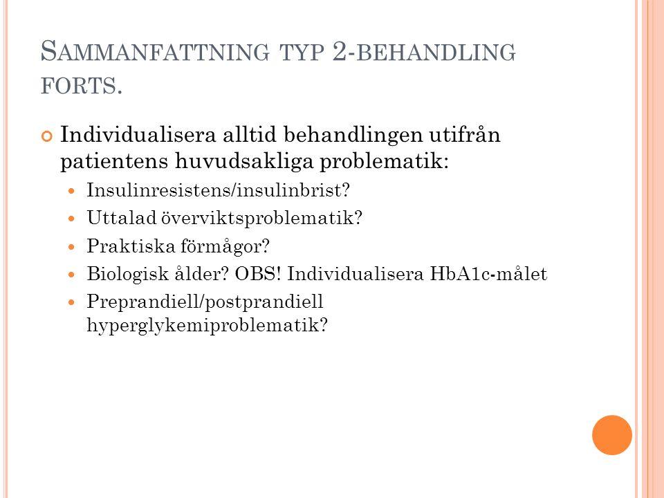 S AMMANFATTNING TYP 2- BEHANDLING FORTS. Individualisera alltid behandlingen utifrån patientens huvudsakliga problematik: Insulinresistens/insulinbris
