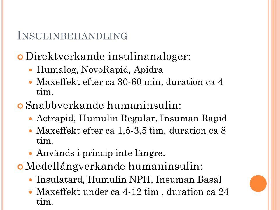 I NSULINBEHANDLING Direktverkande insulinanaloger: Humalog, NovoRapid, Apidra Maxeffekt efter ca 30-60 min, duration ca 4 tim. Snabbverkande humaninsu