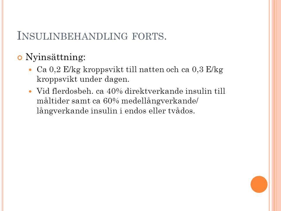 I NSULINBEHANDLING FORTS. Nyinsättning: Ca 0,2 E/kg kroppsvikt till natten och ca 0,3 E/kg kroppsvikt under dagen. Vid flerdosbeh. ca 40% direktverkan