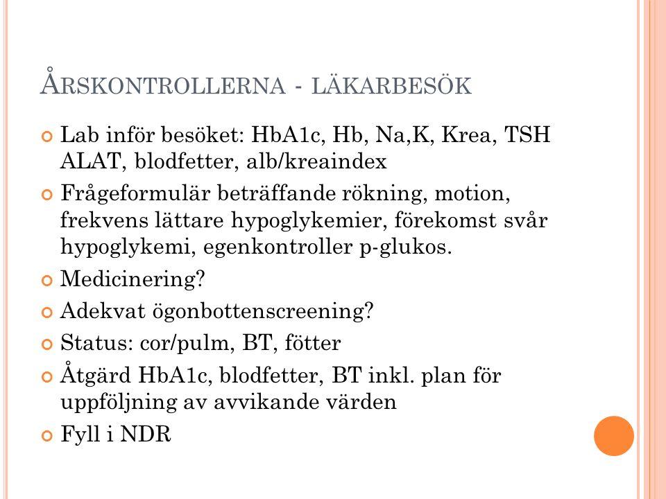 Å RSKONTROLLERNA - LÄKARBESÖK Lab inför besöket: HbA1c, Hb, Na,K, Krea, TSH ALAT, blodfetter, alb/kreaindex Frågeformulär beträffande rökning, motion, frekvens lättare hypoglykemier, förekomst svår hypoglykemi, egenkontroller p-glukos.