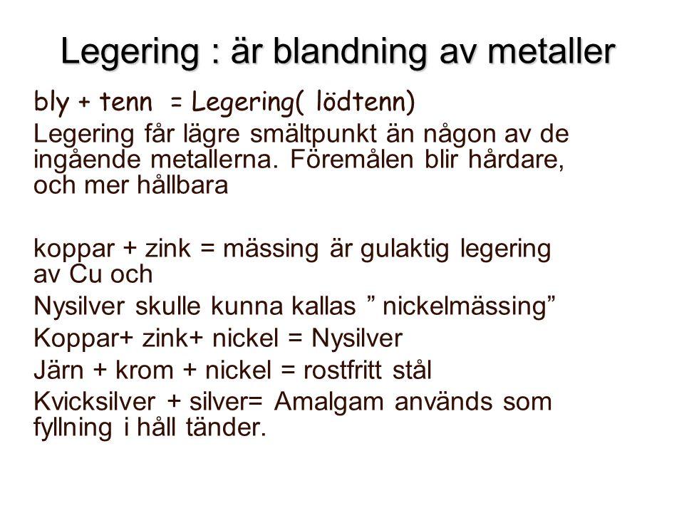 Legering : är blandning av metaller bly + tenn = Legering( lödtenn) Legering får lägre smältpunkt än någon av de ingående metallerna. Föremålen blir h