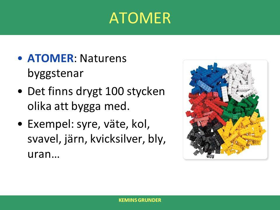 ATOMER ATOMER: Naturens byggstenar Det finns drygt 100 stycken olika att bygga med.