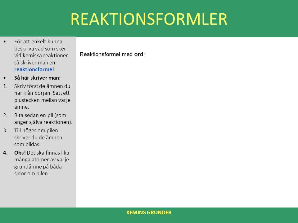 REAKTIONSFORMLER För att enkelt kunna beskriva vad som sker vid kemiska reaktioner så skriver man en reaktionsformel.