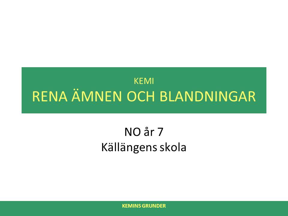 KEMI RENA ÄMNEN OCH BLANDNINGAR NO år 7 Källängens skola