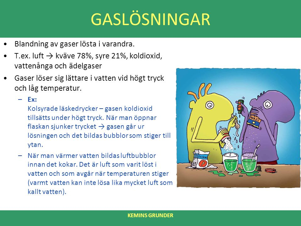 GASLÖSNINGAR Blandning av gaser lösta i varandra. T.ex.