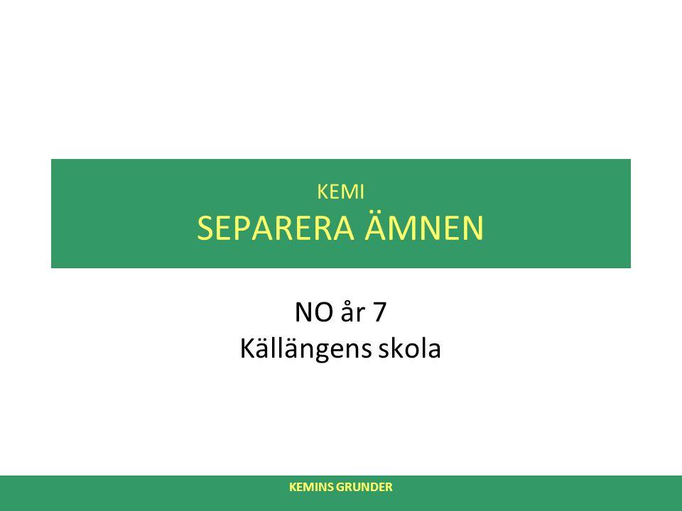KEMI SEPARERA ÄMNEN NO år 7 Källängens skola