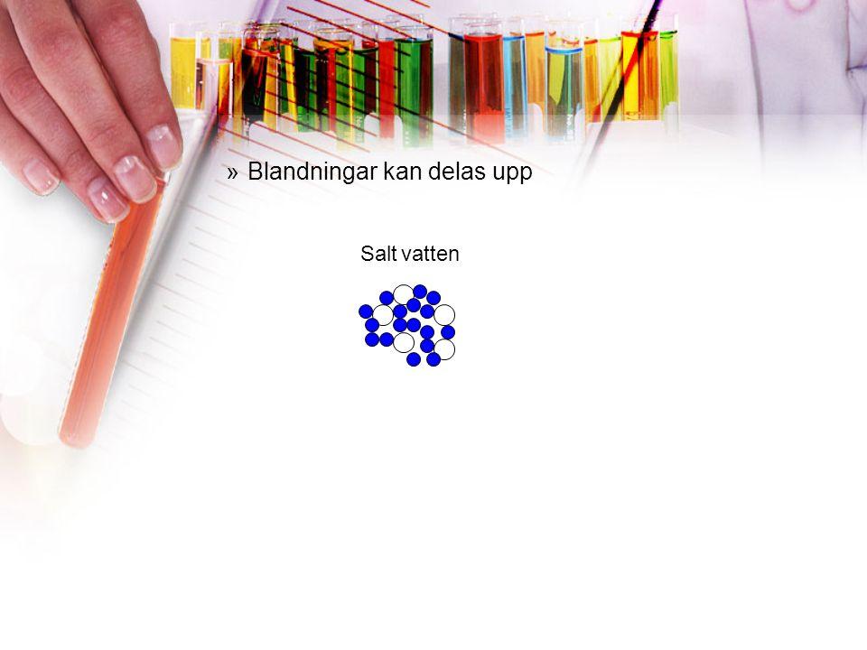 »Olika slags blandningar ÄMNE Rent ämne GrundämneKemisk förening Blandning Lösning vattenmolekyl sockermolekyl sandvattenmolekyl SlamningEmulsion olja Legering koppar tenn