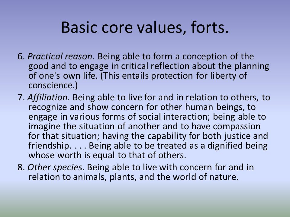 Basic core values, forts. 6. Practical reason.