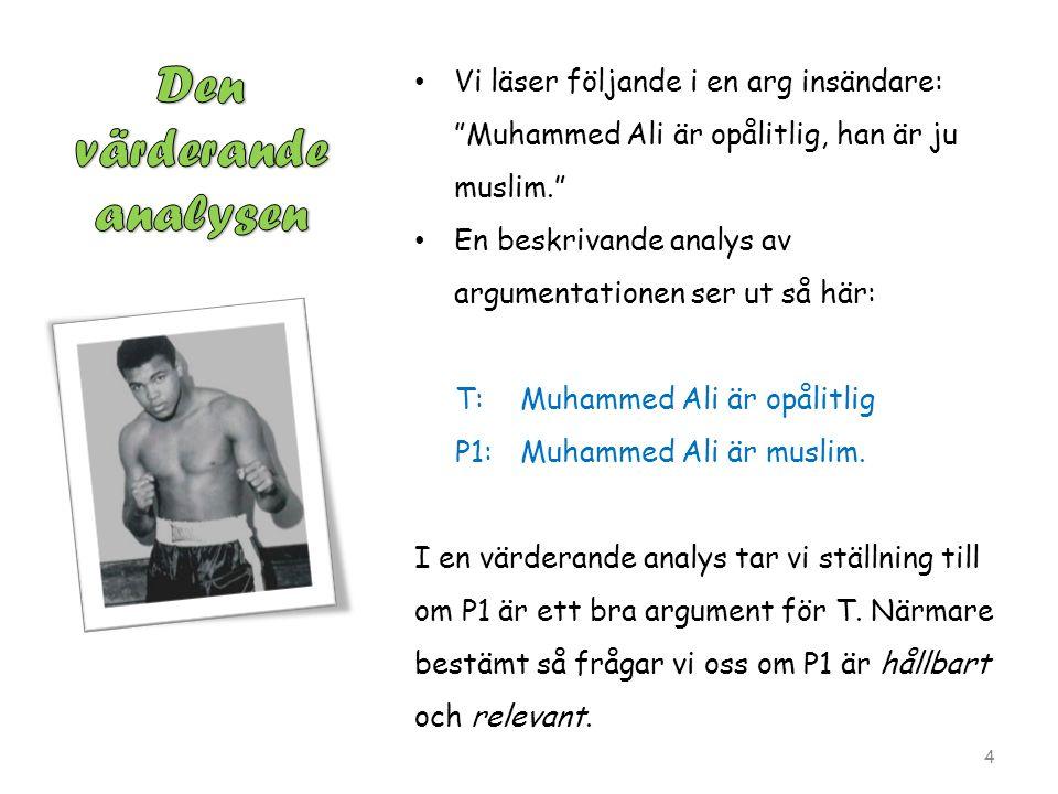 Vi läser följande i en arg insändare: Muhammed Ali är opålitlig, han är ju muslim. En beskrivande analys av argumentationen ser ut så här: T:Muhammed Ali är opålitlig P1:Muhammed Ali är muslim.