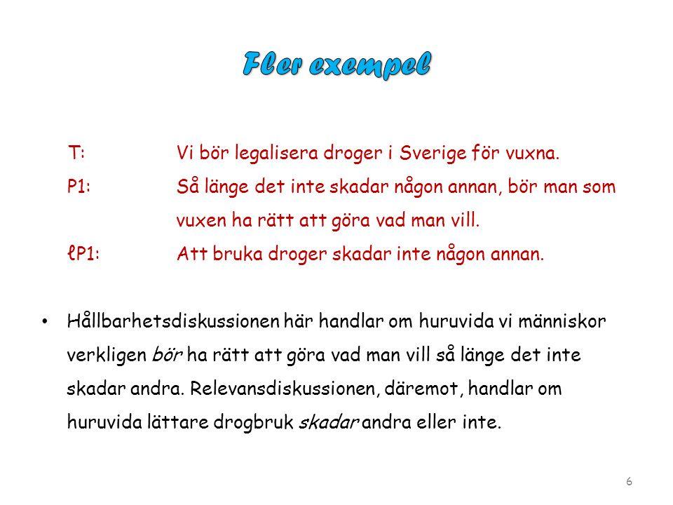 T:Vi bör legalisera droger i Sverige för vuxna.