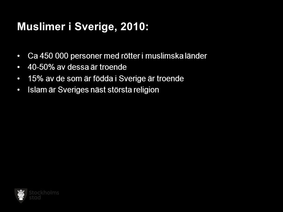 Muslimer i Sverige, 2010: Ca 450 000 personer med rötter i muslimska länder 40-50% av dessa är troende 15% av de som är födda i Sverige är troende Islam är Sveriges näst största religion
