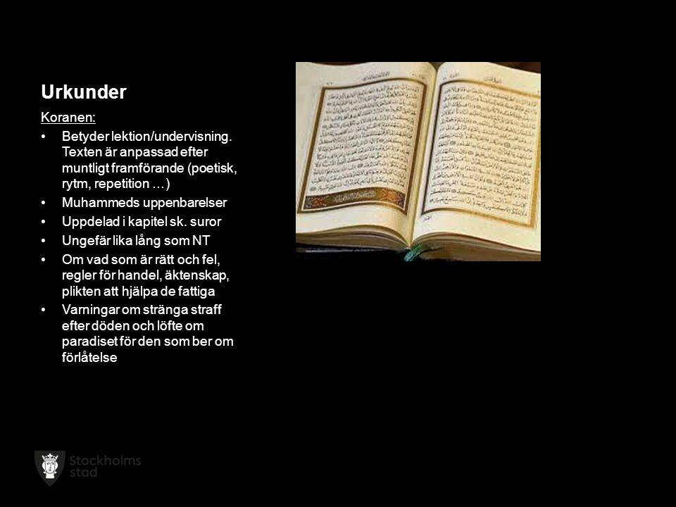 Urkunder Koranen: Betyder lektion/undervisning.