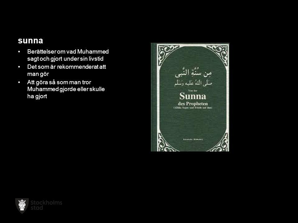 sunna Berättelser om vad Muhammed sagt och gjort under sin livstid Det som är rekommenderat att man gör Att göra så som man tror Muhammed gjorde eller skulle ha gjort
