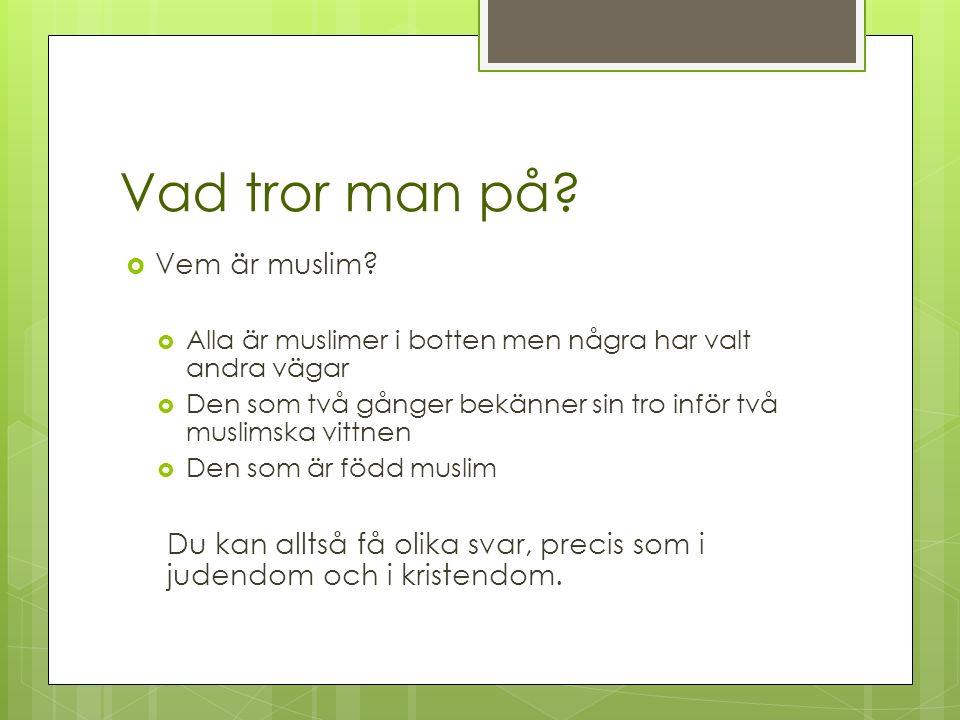 Vad tror man på.  Vem är muslim.
