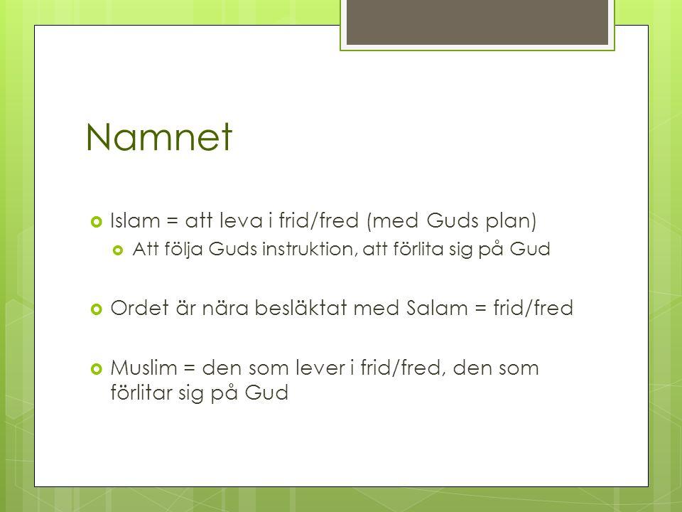 Namnet  Islam = att leva i frid/fred (med Guds plan)  Att följa Guds instruktion, att förlita sig på Gud  Ordet är nära besläktat med Salam = frid/fred  Muslim = den som lever i frid/fred, den som förlitar sig på Gud